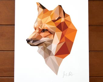 Geometric Bird 8x10 Print - Red Fox