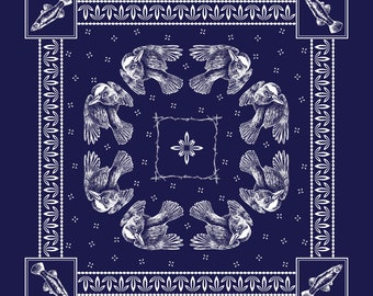 PRE-ORDER - Belted Kingfisher Bandana/Handkerchief - Kingfisher, Bird, Hunter - Wildlife Classic Paisley Inspired - 100% Cotton