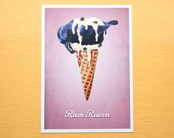 Rum Raven - Ice Cream Bird - Rum Raisin 5x7 Art Print