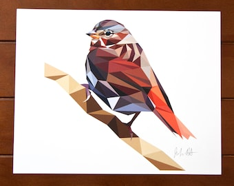 Geometric Bird 8x10 Print - Fox Sparrow