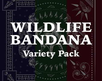 PRE-ORDER - Variety Pack of 3 - Wildlife Inspired Classic Bandanas - 100% Cotton