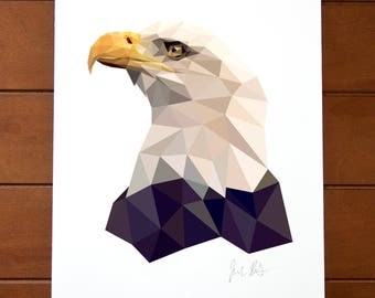 Geometric Bird 8x10 Print - Bald Eagle
