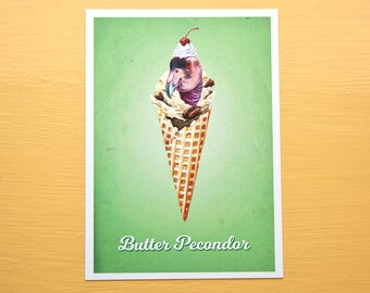 Butter Pecondor - Ice Cream Bird - Butter Pecan 5x7 Art Print