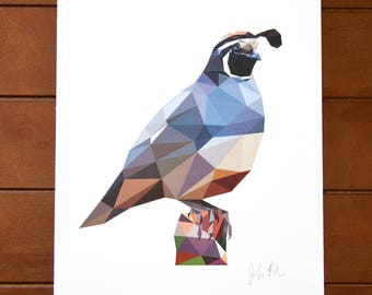 Geometric Bird 8x10 Print - California Quail