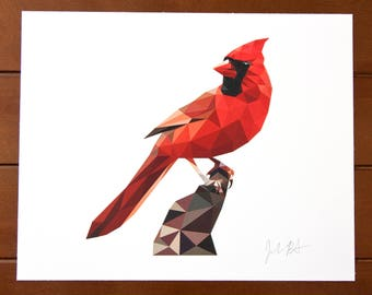 Geometric Bird 8x10 Print - Northern Cardinal