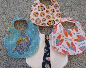Baby Bibs Handmade of Cotton and microfiber washable pop culture gift