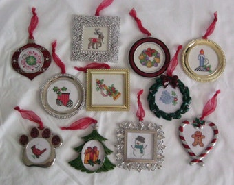 Hand Made Cross Stitch Christmas Ornaments in Metal Frames designs for everyone kid friendly pet friendly