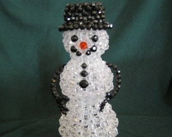 Large Acrylic Beadwork Snowman Decorative Light-up Ornament Decor Piece