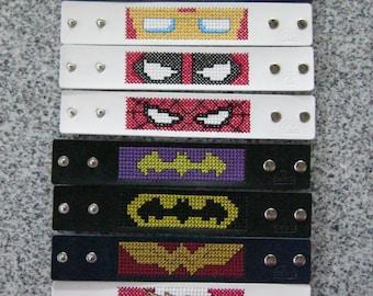 Pop Culture Logo Bracelet Cuff handmade jewelry DC Marvel Comics Wonder Woman Batman Flash Batgirl Captain America Deadpool Spider-Man Iron