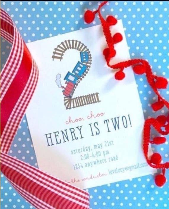 Train Invitations For Second Birthday Party Two Color