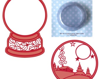 Lot Set Sue Wilson (2) Snow Globe Dies+Plastic Globe Domes CED3079+3080+CETREAT