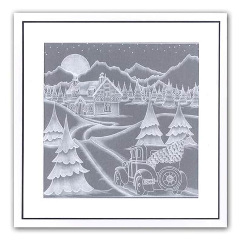 Groovi Plate Set Country Cottage Snow Scene and Winter Landscape 2-piece set A5 Sq