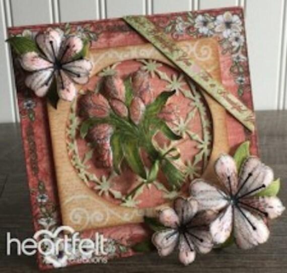 Lot ensemble sincères créations Die + timbre de Sunrise Bouquet de fleur de timbre lys, HCD1-789 + HCPC3723 retraité! 4be43a