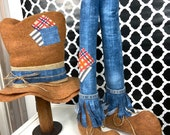 Scarecrow wreath attachments in denim, scarecrow legs and hat, scarecrow deco, fall decor, fall wreath attachments