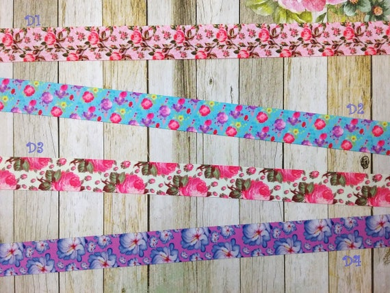 Beautiful Grosgrain Ribbon with pretty floral Printed! Choose from 4 different design!