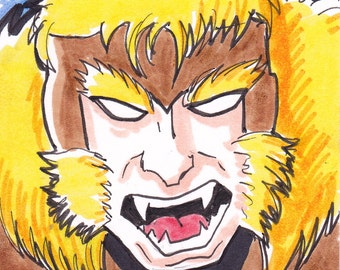 "Sabretooth X-Men 2 1/2"" x 3 1/2"" artist trading card ACEO"