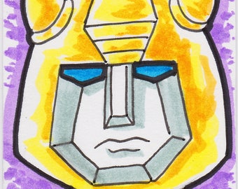 """Bumblebee Transformers ACEO artist trading card  2 1/2"""" x 3 1/2"""""""