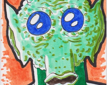 """Greedo Star Wars ACEO trading card2 1/2"""" x 3 1/2"""""""