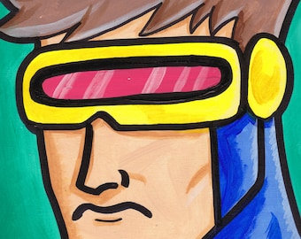 "Cyclops X-Men Painting Acrylic  9"" x 12"""