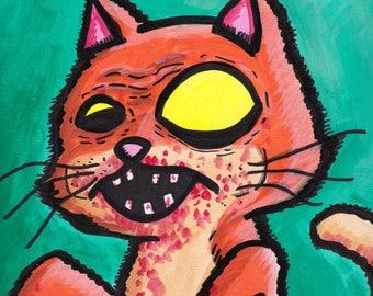"Cat Zombie Painting Acrylic  9"" x 12"""