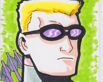 "Hawkeye Avengers 2 1/2"" x 3 1/2"" artist trading card ACEO"