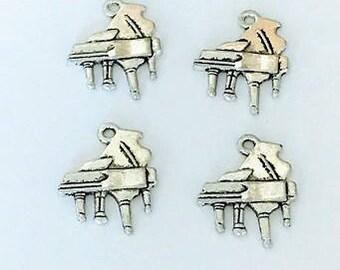 10 Antique Silver Piano Charms Pendants 24mm x 15mm - BA104