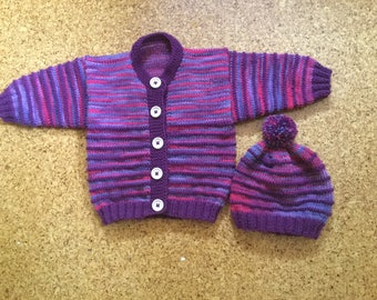 Hand Knitted Sweater and Hat Baby