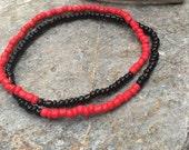 anklets beaded anklets red black anklets ankle bracelet seed beads bohemian anklets custom minimalist yoga beaded anklet unisex Game day