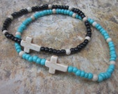 beaded anklet turquoise jewelry cross anklet cream stone beads seed bead stretch anklet stone cross ankle bracelet beaded anklet