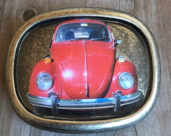 Vintage Retro VW Beetle Belt Buckle Red