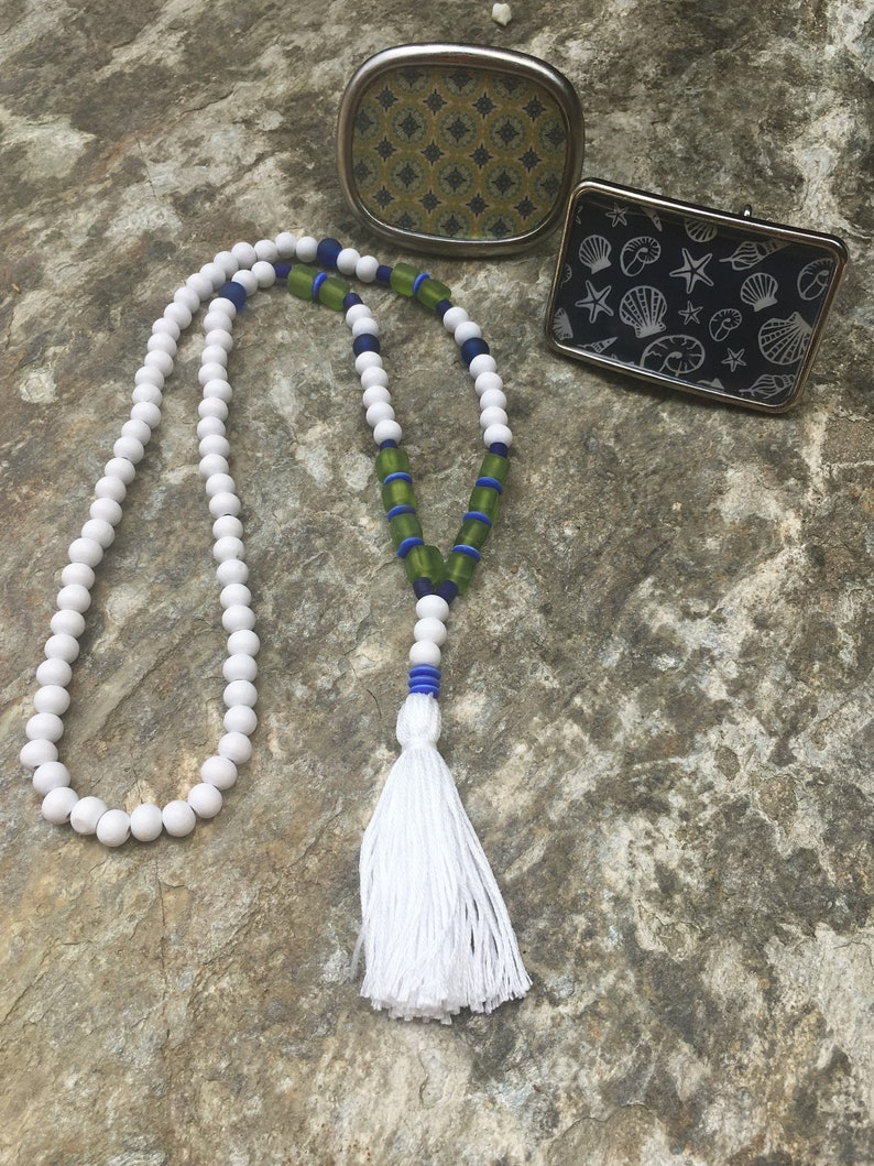 tassel necklace long beaded necklace game day green /& blue wood mala Seattle Bohemian necklace mens mala women/'s necklace matte glass summer