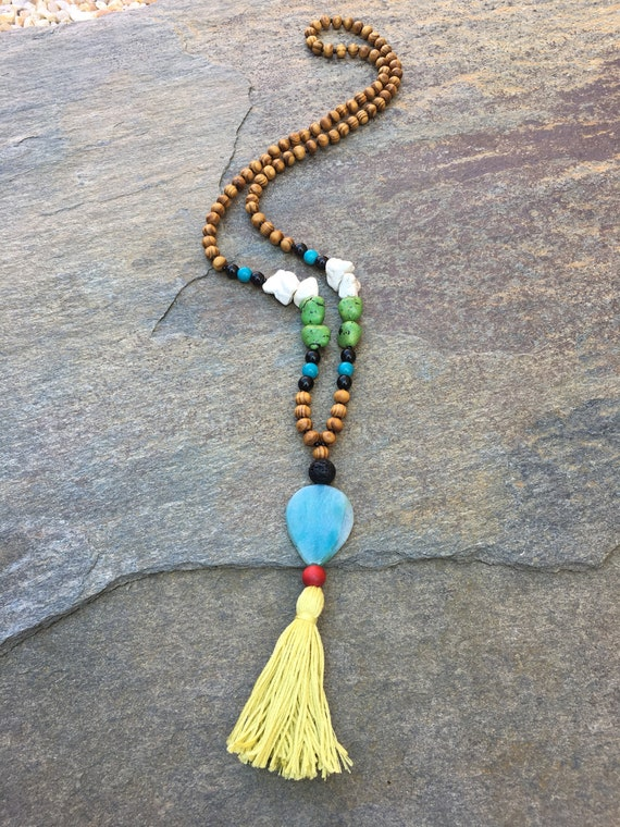 Long Beaded tassel necklace red /& black wood beaded necklace Bohemian necklace boho necklace ladies jewelry Game Day necklace  lava stone