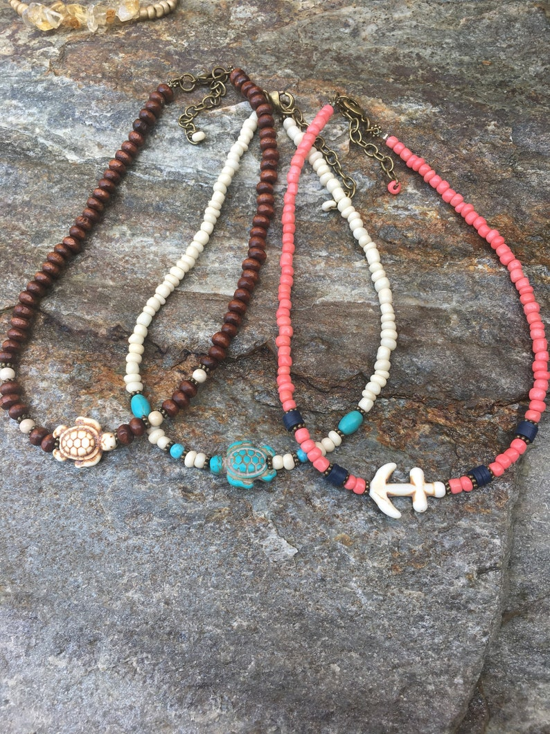 beaded choker turtle necklace choker necklace turquoise seed bead necklace yoga necklace choker with extender chain Lavish Lucy Designs