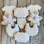 Snowflake Baby Shower Cookies | Snowflake Cookies | Baby It's Cold Outside | Winter Baby Shower | Winter Baby Cookies | One Dozen
