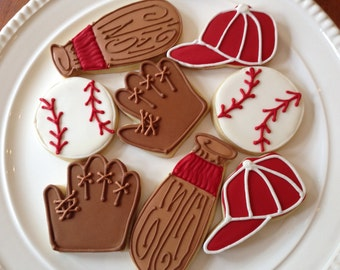 Baseball Cookies | Baseball Party | One Dozen