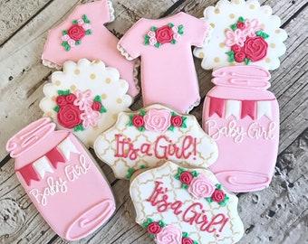 Baby Girl Shower Cookies   Baby Girl Cookies   It's a Girl Cookies   It's a Girl   One Dozen