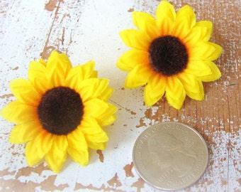 Sunflower Hair Clips, Yellow Flower Hair Clips, Sunflower Hair Accessories, Flower Barrette, Bridal Hair Flower