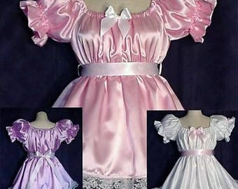 a1d41515a Adult Sissy Baby Lil Girl Style Satin Party Pageant Dress