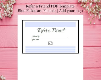 Refer a Friend Template - Referral voucher - PDF template - Customize with Adobe Reader - Editable & Printable PDF - Black and White
