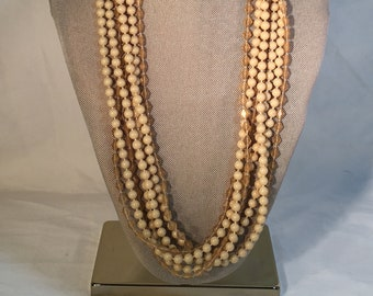 """Multi-strand Beaded Necklace in Shades of Beige, 27"""""""