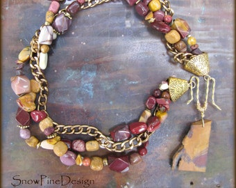 Mookaite, Slab and Tumbled, and Brass Pendant Necklace