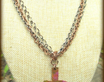 Rugged and Colorful Copper Cross Necklace