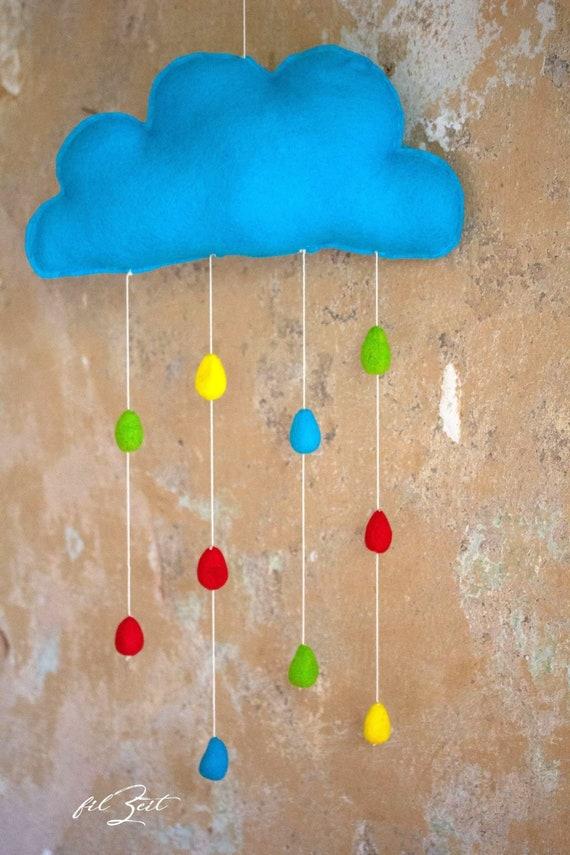 Mobile Happy Rain Felt Mobile Kinderzimmerdeko Clouds Baby Gift For Birth