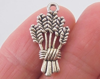 6 Wheat Sheaf charms, 24x13mm, antique silver finish