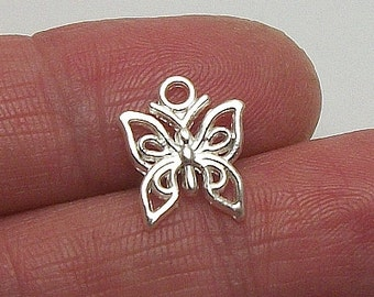 7 Butterfly charms, Silver-Plated, 12x14mm