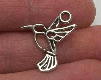 8 Hummingbird charms, 18x17mm, antique silver finish