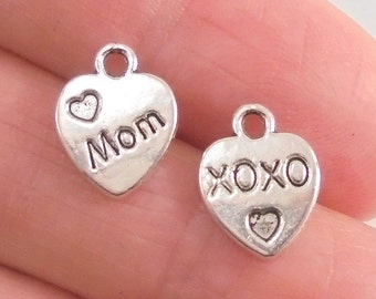 10 Mom and XOXO Heart charms, two-sided, 12x10mm, antique silver finish