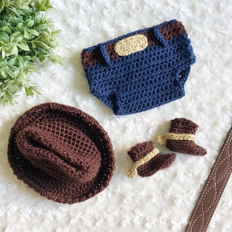 Crochet Cowboy Hat Crochet Diaper Cover Woody Crochet Baby Set Woody Photo Prop Crochet Boots
