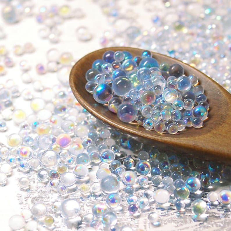 20g  No Hole Micro Glass Beads  iridescent clear  ABcolor image 0