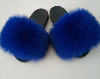 4ab486a37e25 puffs Sandals Royal Blue Real Furry puffs Flip Flops Hollywood female  star s sandals slides slippers Fur Women Shoes sapphire blue fox fur